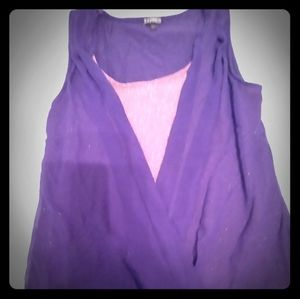 Express ribbed wrap tank with sheer outer layer